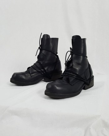 Dirk Bikkembergs black tall boots with laces through the soles (44) — late 90's