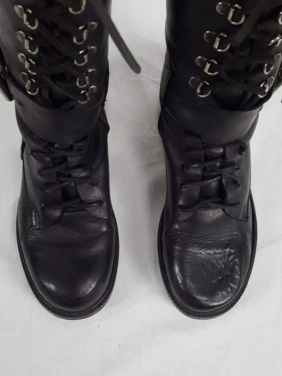 Dirk Bikkembergs black tall lace-up boots with metal heel (40) — late 90's