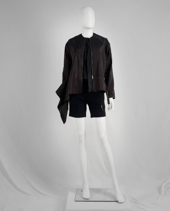 Dries Van Noten purple bomber jacket white side drape