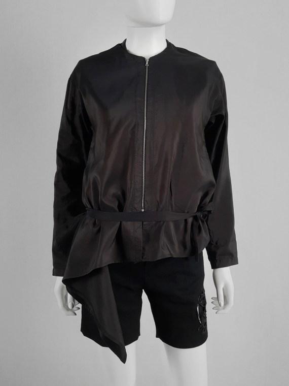 Dries Van Noten purple bomber jacket white side drape