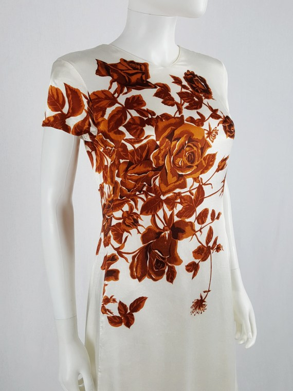 vaniitas vintage Dries Van Noten white dress with orange flowers runway fall 1995 121018