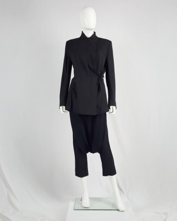 Ann Demeulemeester black blazer with asymmetric wrap front — fall 1996