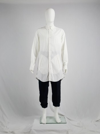 Ann Demeulemeester white oversized shirt with oversized pockets — spring 2011
