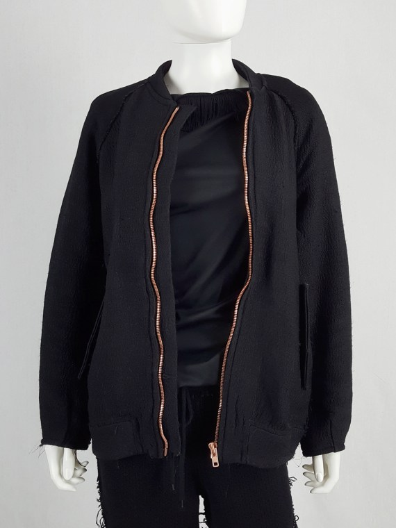 vaniitas Avelon black bomber jacket with frayed trims and copper zipper 122230