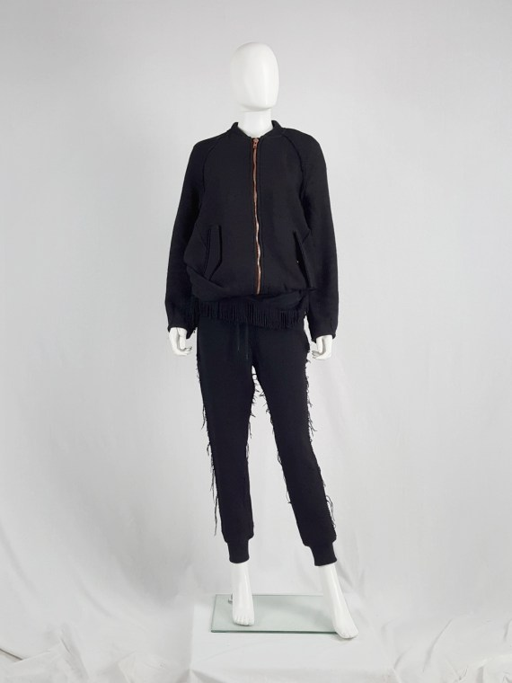 vaniitas Avelon black bomber jacket with frayed trims and copper zipper 122353