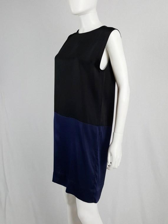 Haider Ackermann black minimalist dress with blue color blocking — spring 2014
