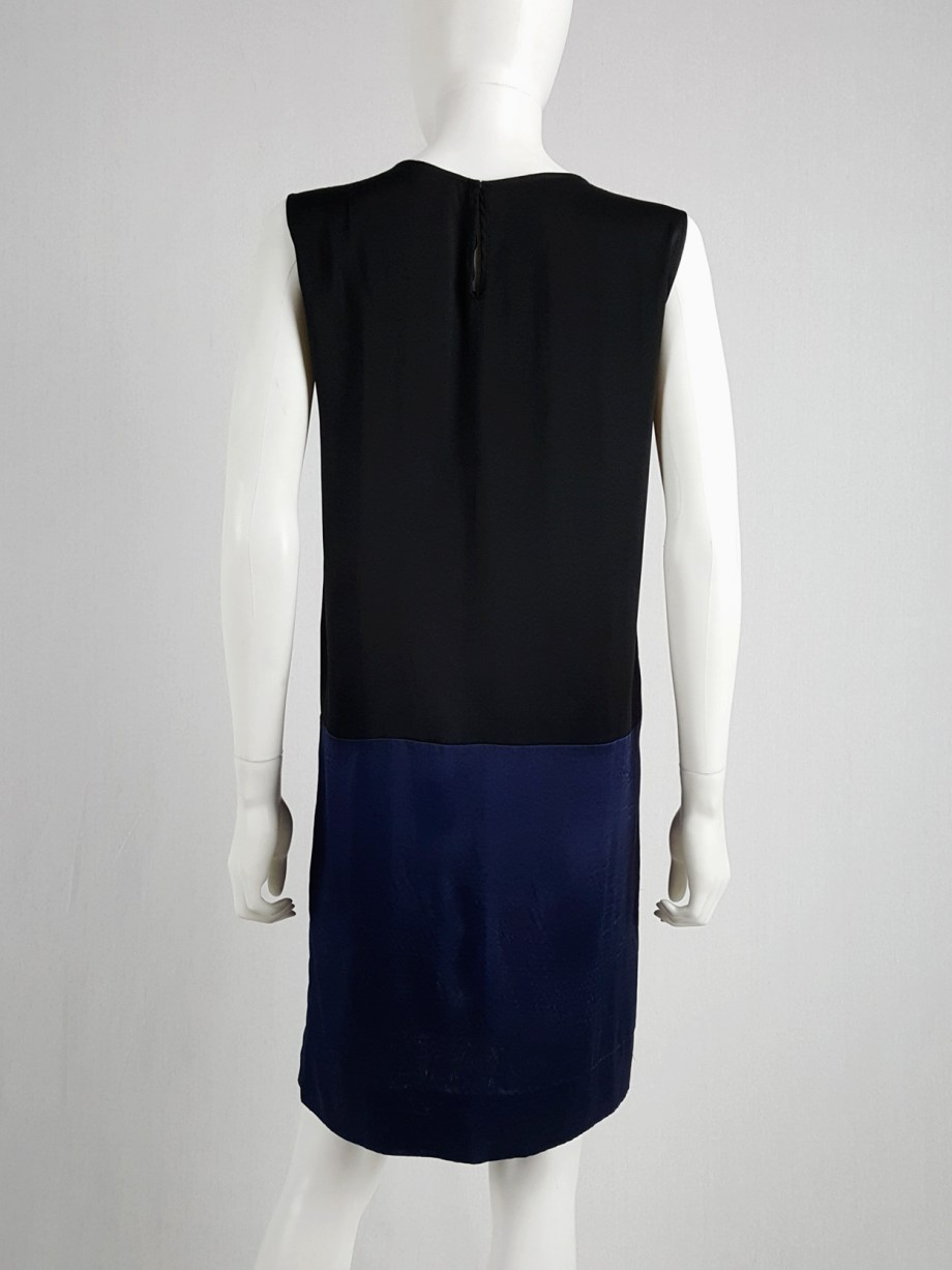 Haider Ackermann black minimalist dress with blue color blocking — spring 2014