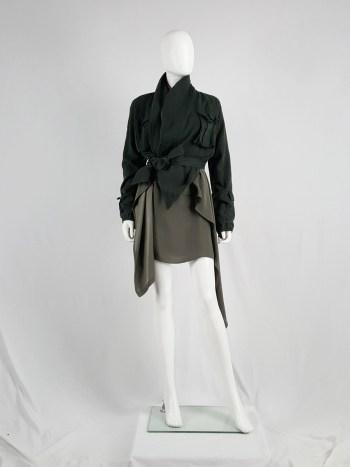 Haider Ackermann green cargo jacket with large draped collar — spring 2010
