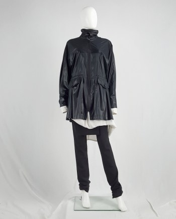 Issey Miyake Windcoat black short shiny parka