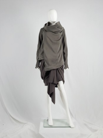 Rick Owens DRKSHDW green wrapped cowl neck jumper with waterfall front