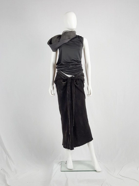 Rick Owens MOOG brown velvet draped skirt with front ties — fall 2005