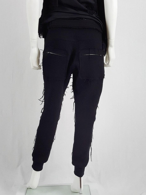 Y's Yohji Yamamoto black knit sweatpants with heavily frayed sides