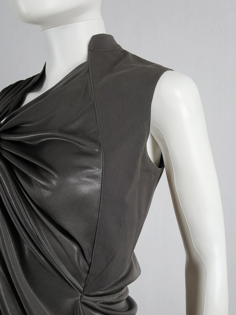 vaniitas vintage A.F. Vandevorst bronze draped top with open back runway spring 2011 164518