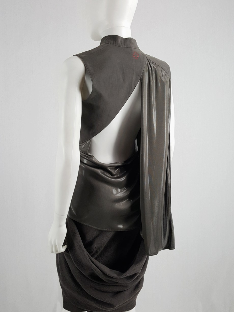vaniitas vintage A.F. Vandevorst bronze draped top with open back runway spring 2011 164629