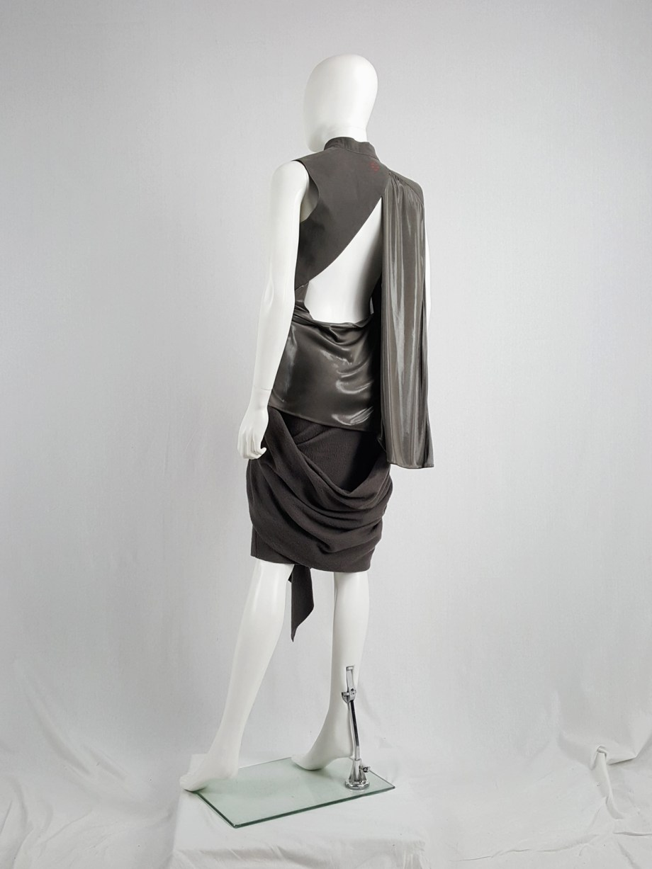 vaniitas vintage A.F. Vandevorst bronze draped top with open back runway spring 2011 164800