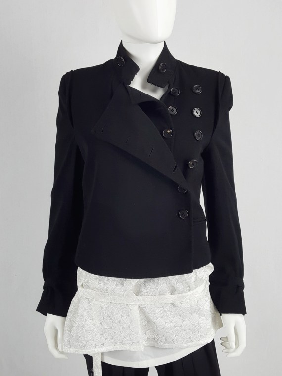 vaniitas vintage Ann Demeulemeester black asymmetric jacket with double button rows runway fall 2010 140434(0)