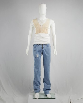 Dirk Bikkembergs denim trousers with leg pocket and trompe-l'oeil back pocket — spring 2005