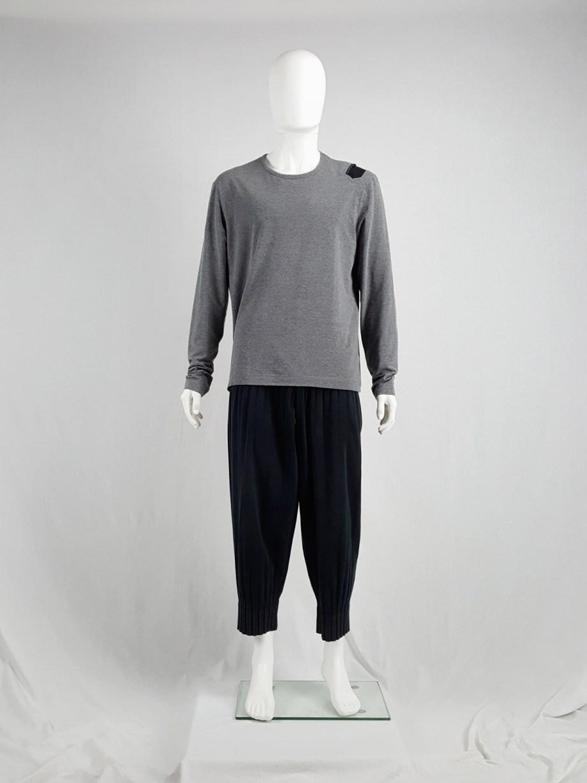 Dirk Bikkembergs grey oversized jumper with black shoulder patch