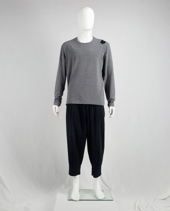Dirk Bikkembergs grey oversized jumper with black shoulder patch