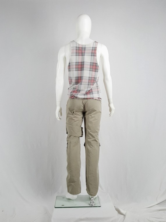 Helmut Lang beige trousers with velcro strap and elastic bands — 90's