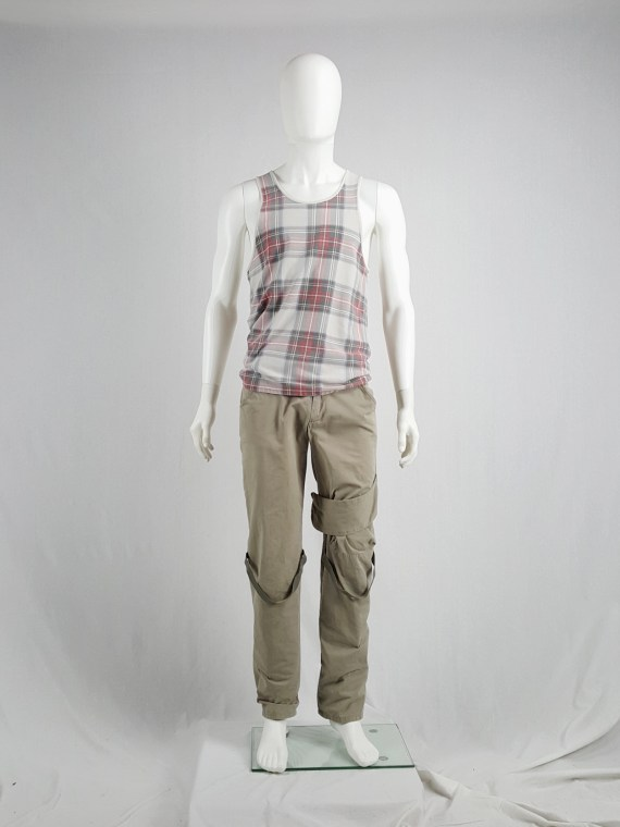 vaniitas vintage Helmut Lang beige trousers with velcro strap and elastic bands 90s archive110640