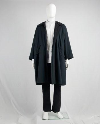 Issey Miyake Windcoat black oversized parka with zipped hood