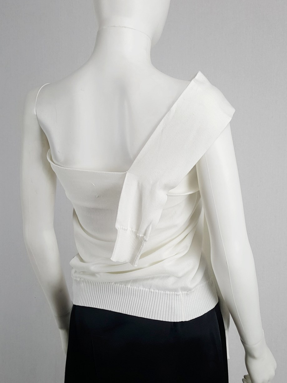 vaniitas vintage Maison Martin Margiela white one-sleeved top with extra sleeves spring 2007 105927