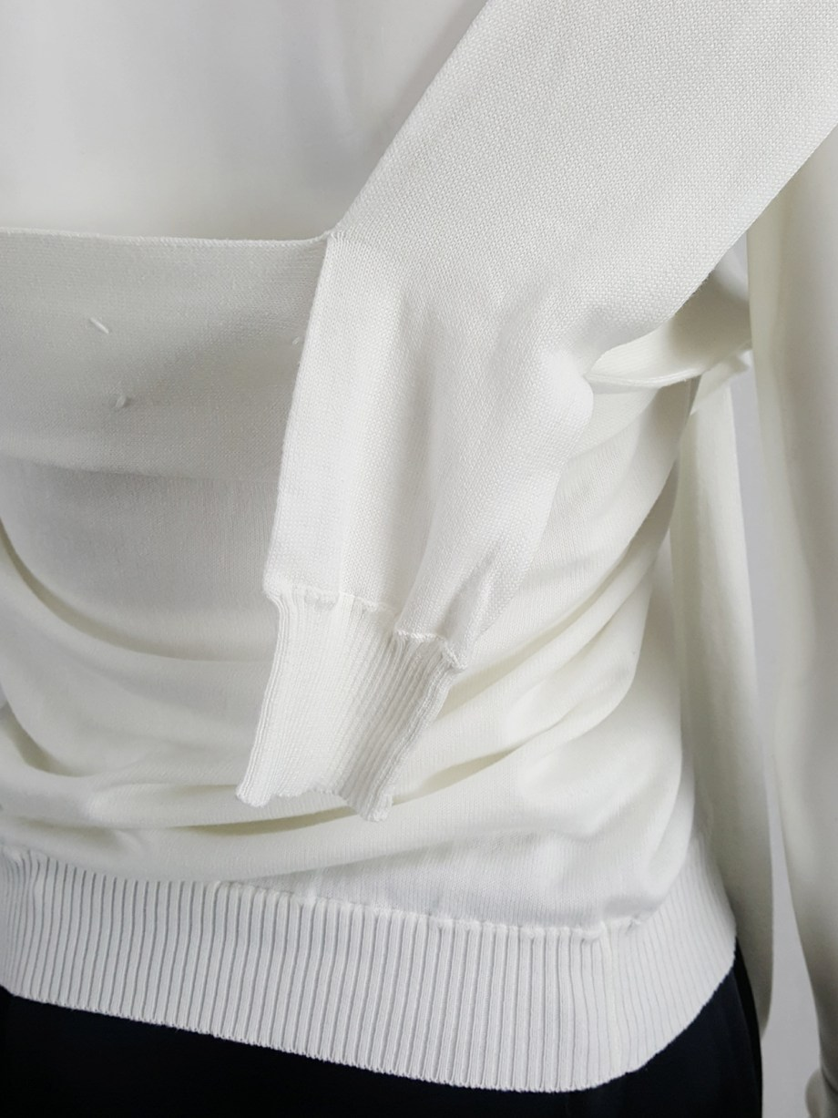 vaniitas vintage Maison Martin Margiela white one-sleeved top with extra sleeves spring 2007 105937