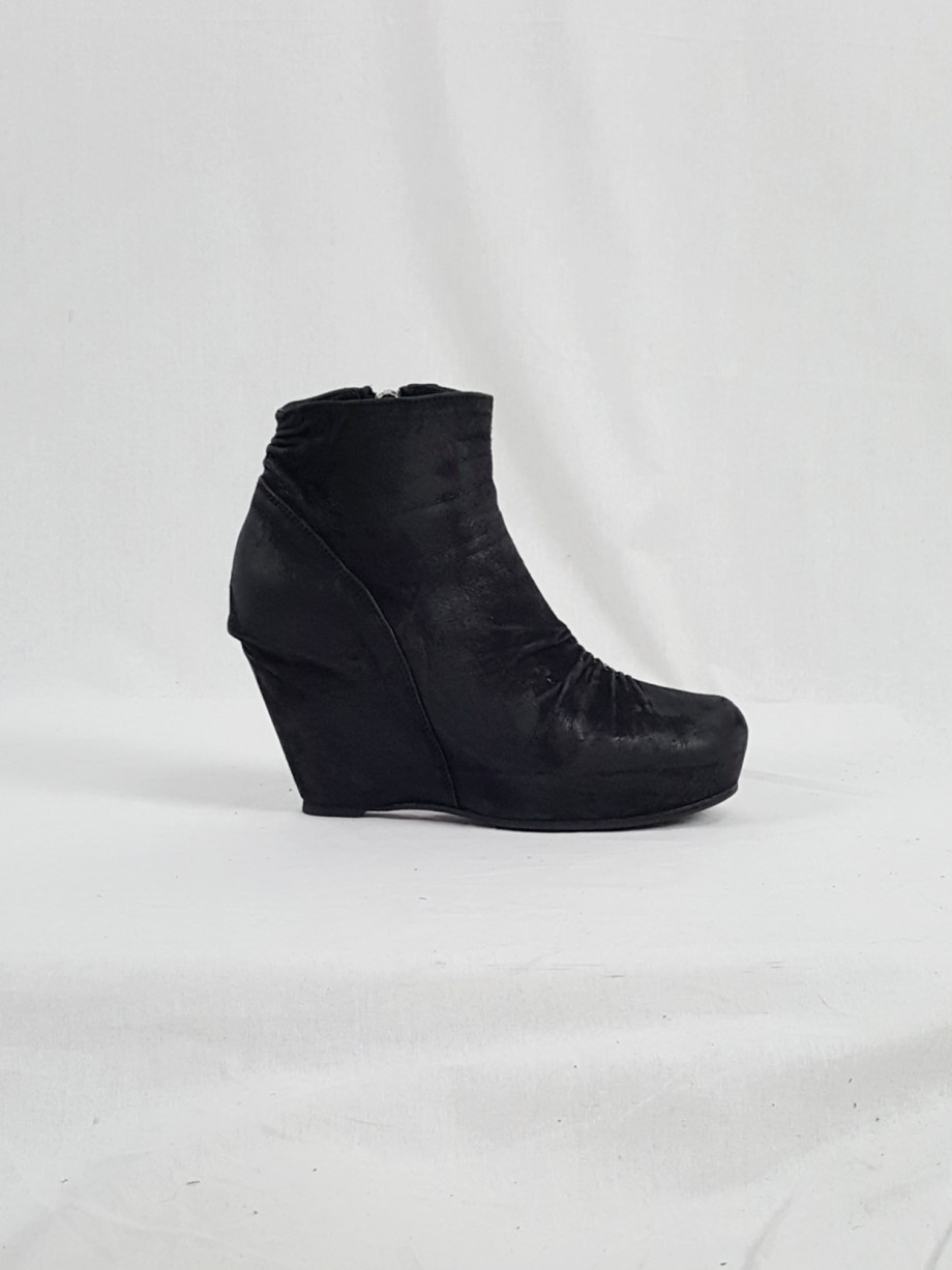 vaniitas vintage Rick Owens black suede ankle boots with wedge heel and hidden platform 152916