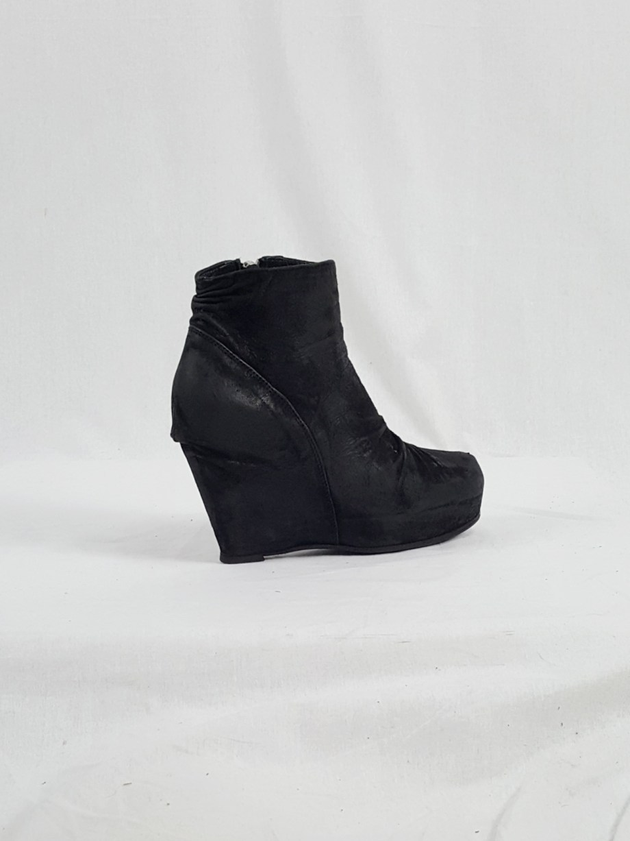vaniitas vintage Rick Owens black suede ankle boots with wedge heel and hidden platform 152931