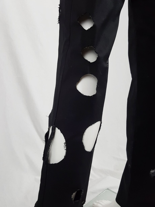 Yohji Yamamoto black trousers with circle cutouts — spring 2010