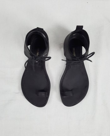Ann Demeulemeester black lace-up sandals with toe strap