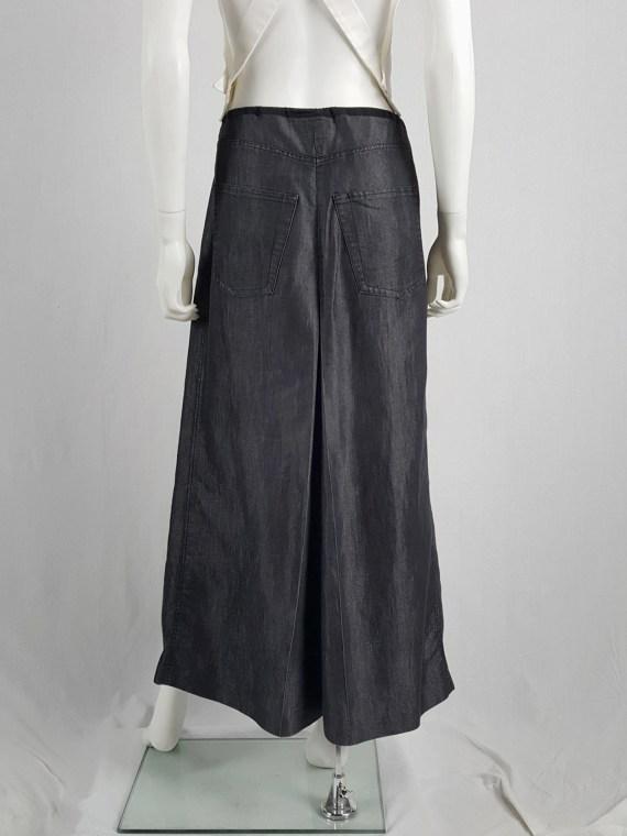 Ann Demeulemeester denim maxi skirt mimicking oversized trousers — spring 1991