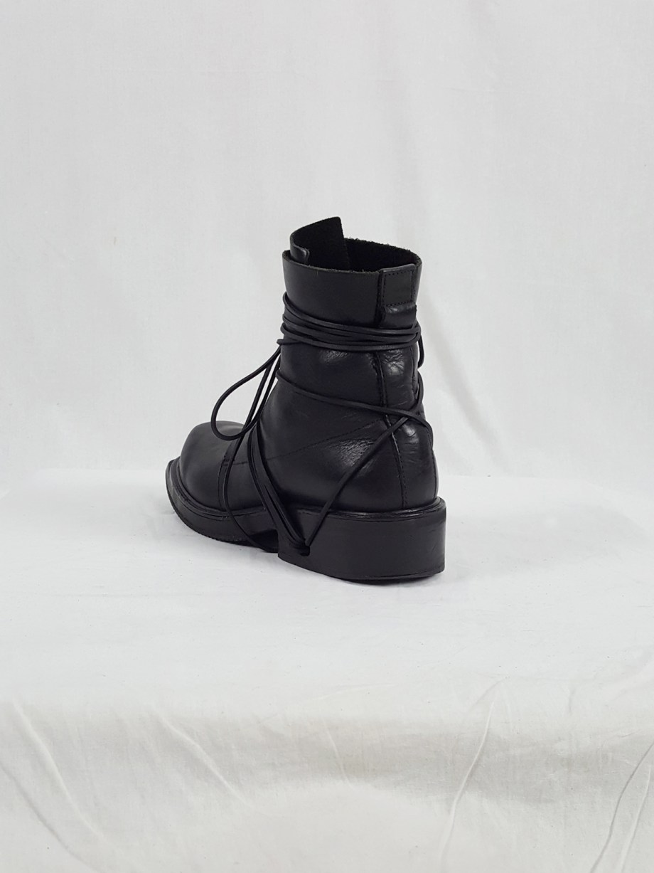 Dirk Bikkembergs black tall boots with laces through the soles (44) — 1990's