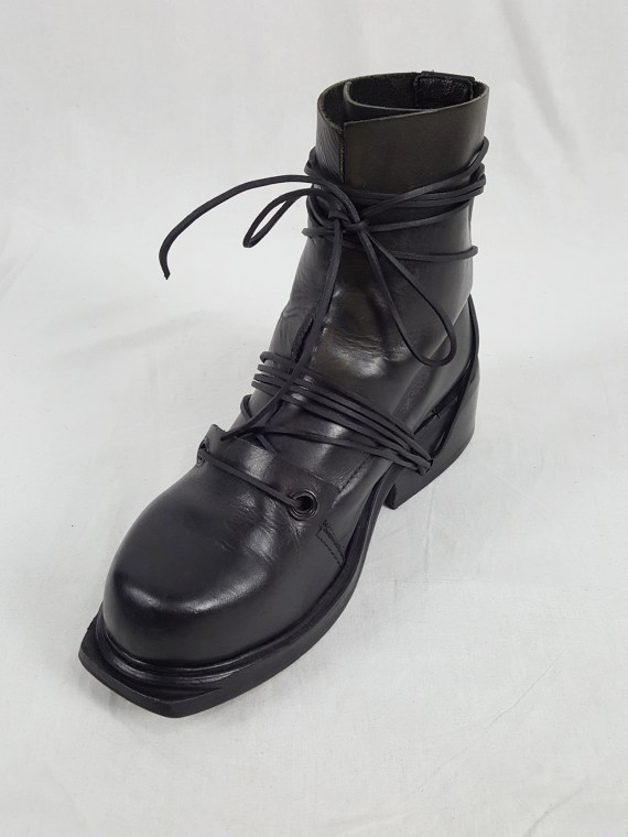 Dirk Bikkembergs black tall boots with laces through the soles (43) — late 90's