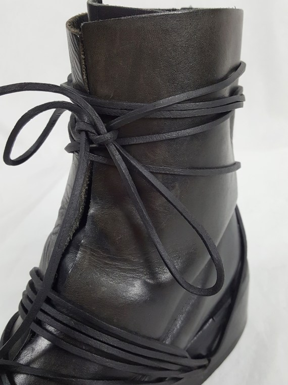 vaniitas vintage Dirk Bikkembergs black tall boots with laces through the soles 90s archive 103731