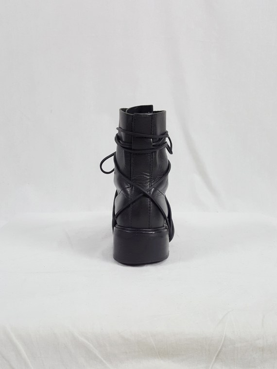 vaniitas vintage Dirk Bikkembergs black tall boots with laces through the soles 90s archive 104122(0)
