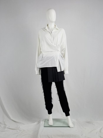 Haider Ackermann white oversized shirt with side drape