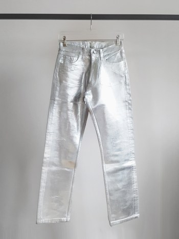 Maison Martin Margiela artisanal silver painted denim trousers — fall 1998