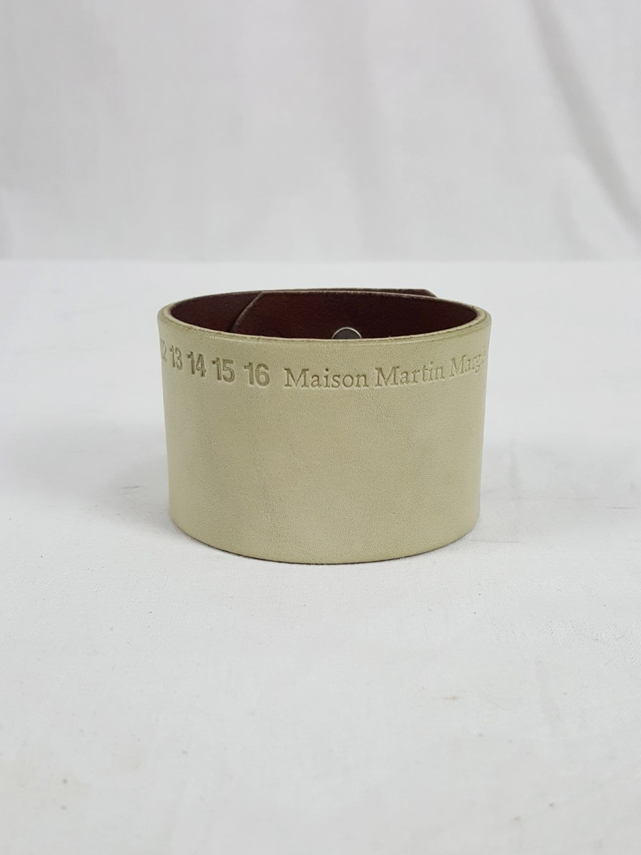 vaniitas vintage Maison Martin Margiela white leather bracelet with embossed logo spring 2009 112615