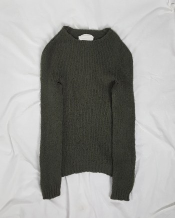 Maison Martin Margiela green flat jumper with standing neckline — fall 1998