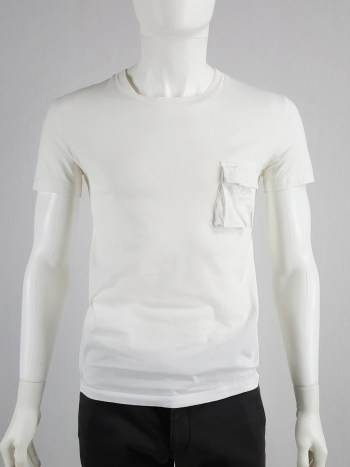 Raf Simons white t-shirt with cargo pocket — spring 2005