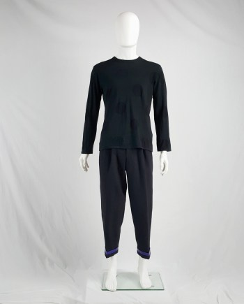 Yohji Yamamoto Y's for men black jumper with mesh circles — 90's