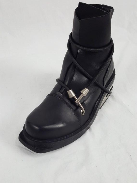 Vaniitas vintage Dirk Bikkembergs black mountaineering boots with black and blue elastic spring 1999 3