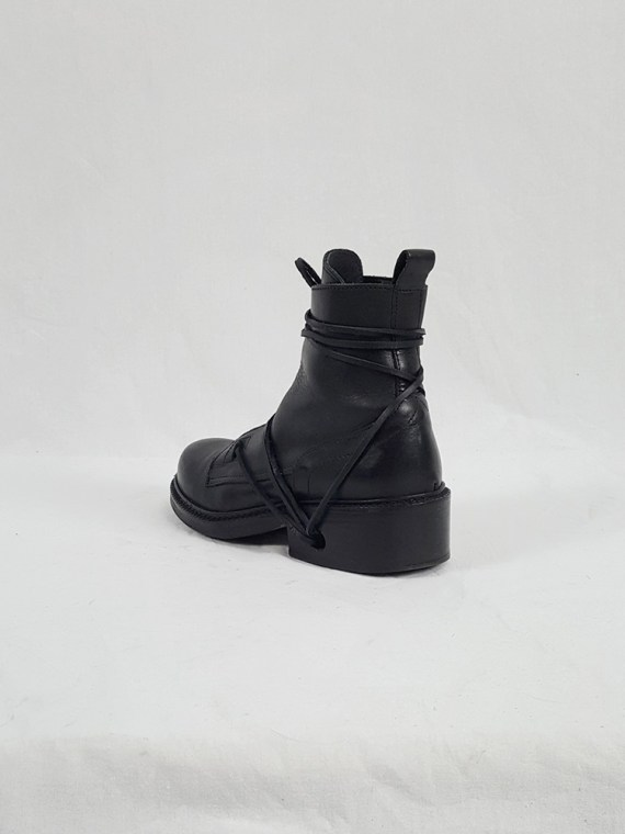 Dirk Bikkembergs black tall boots with laces through the soles (37) — late 90's