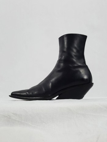 Ann Demeulemeester black cowboy boots with slanted heel (38) — fall 2001