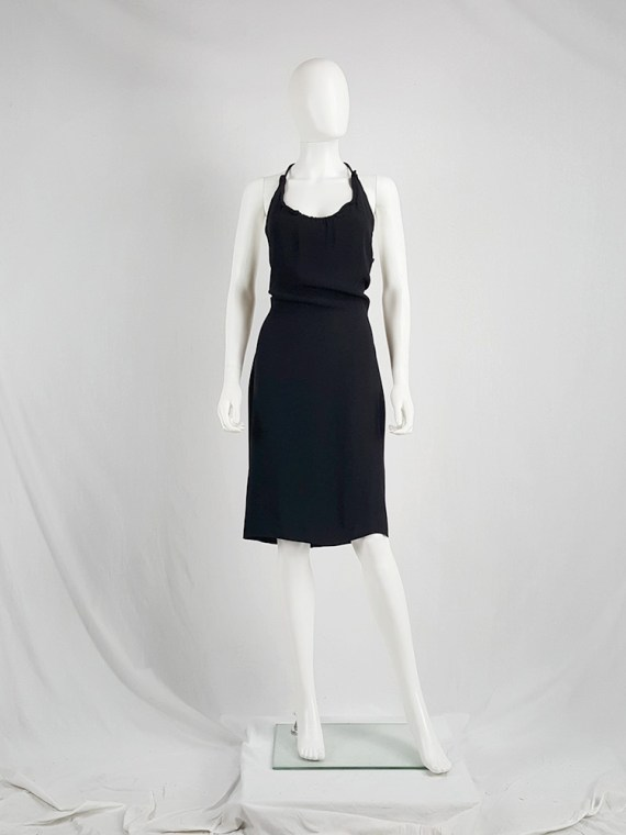 vintage Maison Martin Margiela black backless dress with crossed straps — fall 2007