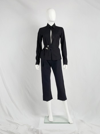 Dirk Bikkembergs black slit shirt with mountaineering belts — 90's