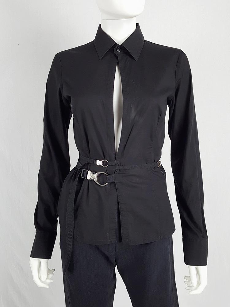 Dirk Bikkembergs black slit shirt with mountaineering belts — 90's