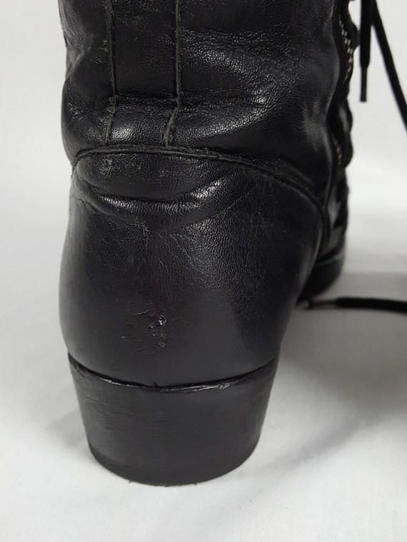 Ann Demeulemeester black flat triple lace boots (38.5) — fall 2008
